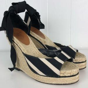 Kate Spade Striped Ankle Tie Espadrille Wedge -7